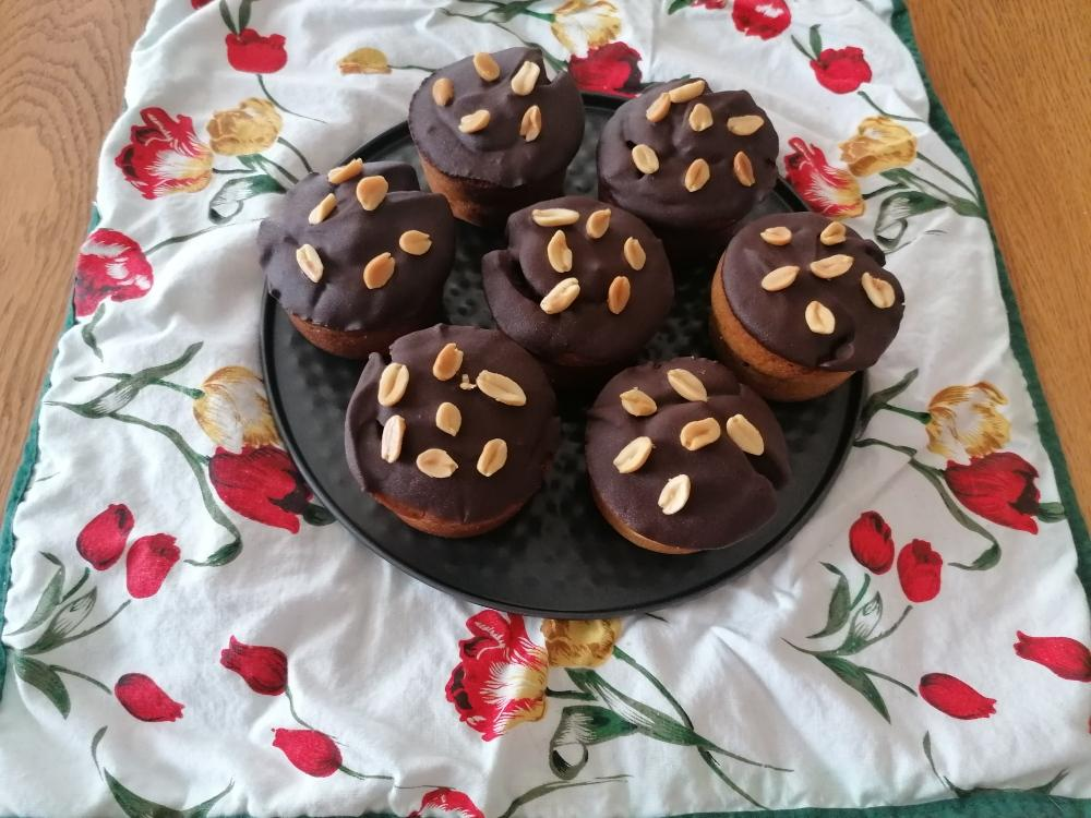 Muffins a la cacahuete nappage chocolat au sirop d erable